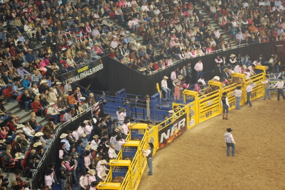 There are dozens of workers who are abuzz behind the scenes during the Wrangler NFR, including in the main alley at the Thomas & Mack Center, shown here.