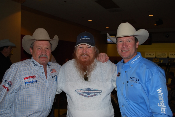 Bob Tallman, shown here with actor Mickey Jones and announcer Wayne Brooks, will once again host his annual charity bowling tournament at the Gold Coast.