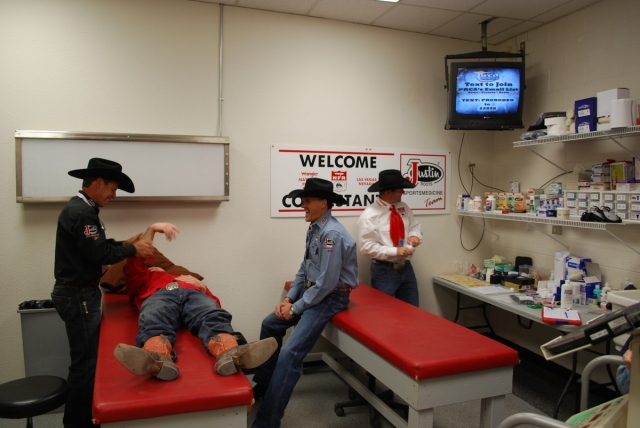 Rodeo is an intense and physically demanding sport, and Wrangler NFR contestants are regulars in the Justin SportsMedicine treatment room.