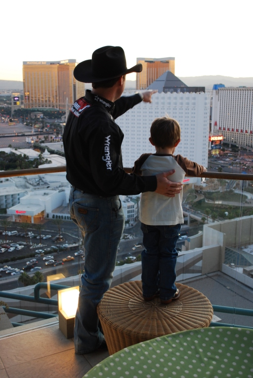 Trevor and Treston checked out the view of the strip during my 2011 interview with the King of Rodeo.