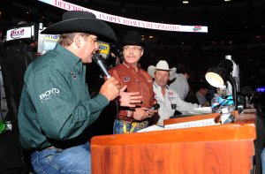 Wrangler NFR announcers (from L to R) Boyd Polhamus, Randy Corley and Bob Tallman have extremely difficult, but coveted, jobs.  (PRCA ProRodeo photo by Greg Westfall)