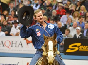 Tie-down roper Bradley Bynum finally got to take a victory lap in Round 8 of his first Wrangler NFR.  (PRCA ProRodeo photo by Greg Westfall)