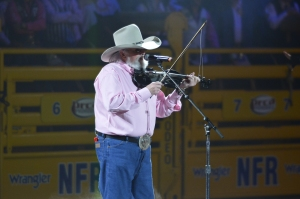 Charlie Daniels has been a mainstay at the Wrangler NFR since it moved to Las Vegas in 1985, and he was the opening performer Monday night.  (PRCA ProRodeo photo by Greg Westfall)