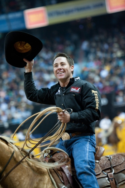Trevor Brazile won his 12th all-around gold buckle on Saturday night to extend his record to 21 career world titles.  --PRCA photo by Tom Donoghue