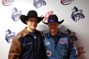 Wrangler NFR bullfighter Dusty Tuckness, left, and Wrangler NFR bull rider Kanin Asay have been best friends for years and are realizing a dream in Las Vegas together.