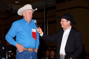 Dean Oliver, left, was interviewed by announcer Randy Corley after receiving the Legend of ProRodeo award earlier this week.