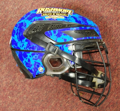 Wrangler NFR bull rider Ardie Maier is wearing this helmet after suffering a horrific injury in Omaha, Neb., last year.