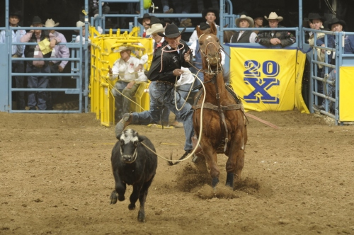 Nate Baldwin, shown here competing in the tie-down roping at the 2007 Wrangler NFR, is 100 percent again thanks to help from the JCCF.  --PRCA photo by Mike Copeman