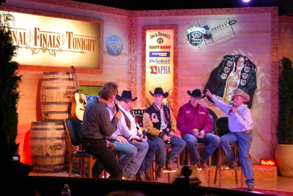 "Hall of Famer Don Gay (third from left) loves hosting ""National Finals Tonight"" at the Gold Coast during the Wrangler NFR."