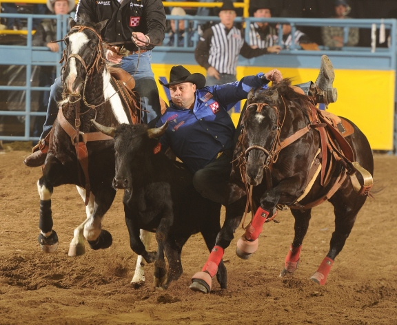 Jason Miller, the 2007 world champion steer wrestler, says qualifying for the Wrangler NFR makes the long season worthwhile.  --PRCA ProRodeo photo by Greg Westfall