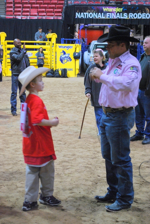 Steer wrestler K.C. Jones, shown here helping out at the 2012 Wrangler NFR Exceptional Rodeo, is thankful to have a chance to battle for a gold buckle this year.