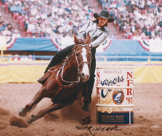 Shown here in 1997, Fallon Taylor qualified for four National Finals Rodeos as a teenager from 1995-98.  --Photo by Kenneth Springer