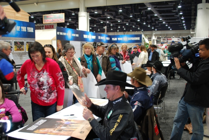 World Champions Trevor Brazile, Kaycee Feild, Cody Teel and Mary Walker signed autographs for fans at the kickoff event for Cowboy FanFest.