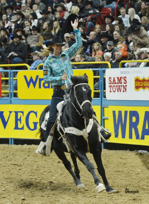 Three-time World Champion Barrel Racer won the first two rounds and split fourth in Round 3 to widen her lead in the world standings.  --Photo courtesy of Kenneth Springer