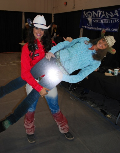 Barrel racer Fallon Taylor was beside herself in the press room before Round 10.