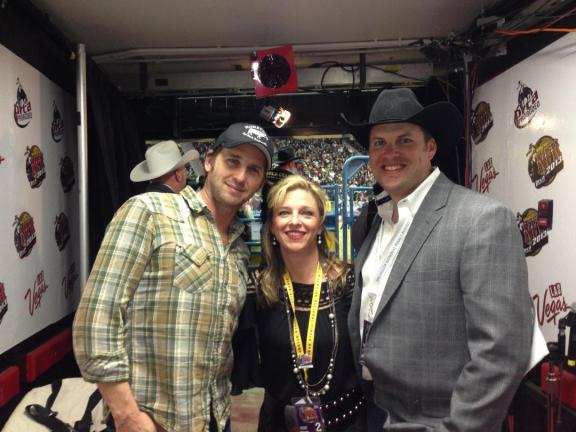 Actor Josh Lucas, shown here with the PRCA's Sara Muirheid and Tanner Ward, attended Round 3 on Saturday night.  --Photo courtesy of Sara Muirheid
