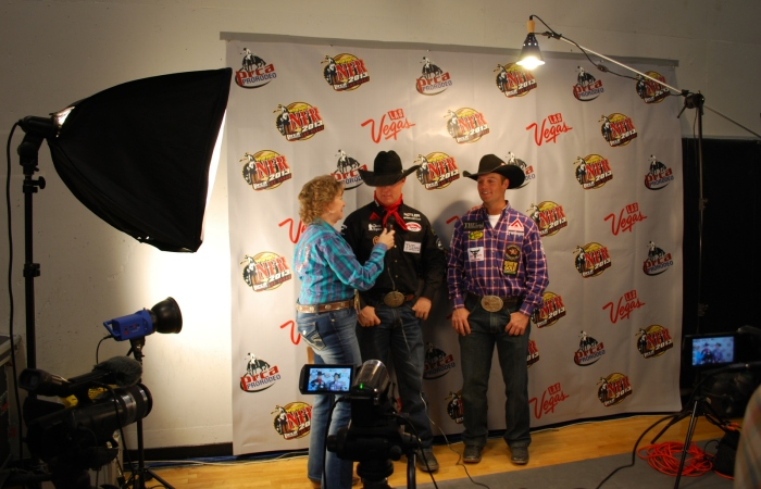 Brady, center, and Riley Minor were back in the Wrangler NFR press room Saturday night after splitting first place in the team roping.