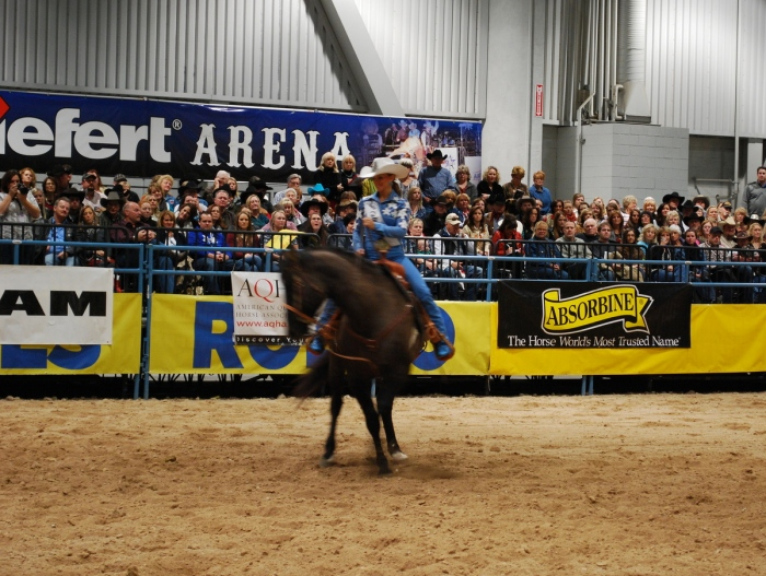 Each contestant, like Miss Rodeo Colorado Sarah Wiens, had to complete a set pattern and perform a 90-minute freestyle routine in the horsemanship competition.