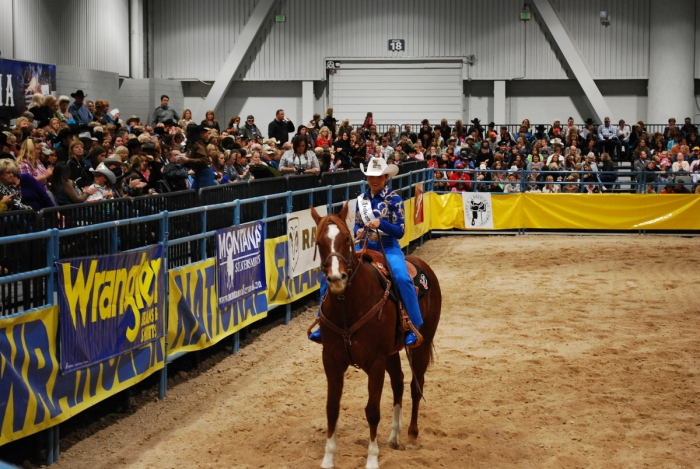 Miss Rodeo Louisiana Shelby Kadrovich was one of 28 Miss Rodeo America 2014 contestants to ride in the pageant's horsemanship competition on Sunday morning.