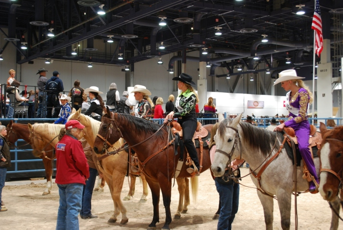 This year's Miss Rodeo America 2014 Pageant contestants, some of whom are shown here preparing for the horsemanship competition, have formed a sorority of sorts during the weeklong competition this year.