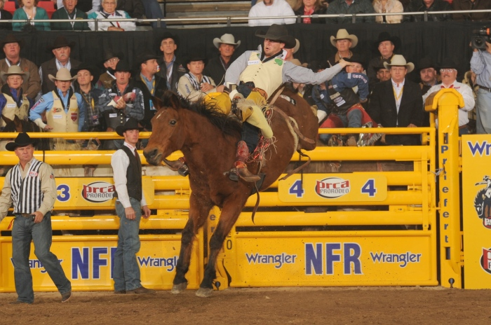 Caleb Bennett's winning ride on Carr Pro Rodeo's Wise Guy was the bareback horse's final trip.  --PRCA ProRodeo photo by Larry Smith