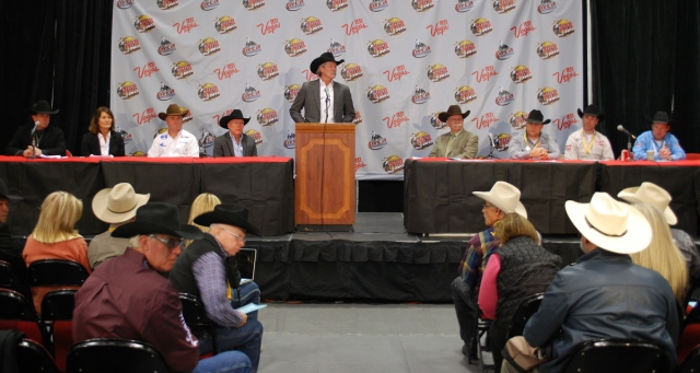 PRCA Commissioner Karl Stressman joined Board members and sponsors to speak at the annual PRCA Press Conference at the Wrangler NFR on Tuesday afternoon.
