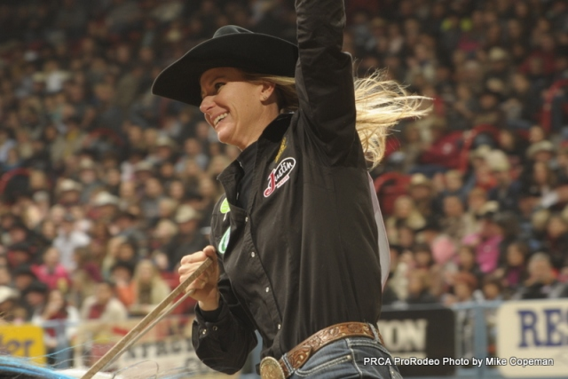 Top-ranked barrel racer Sherry Cervi leads all Wrangler NFR contestants with $70,413 in earnings through the first six rounds.