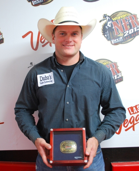 Trell Etbauer, who won the Linderman Award for the fourth time of his career this year, received his buckle during Round 4 on Sunday night.