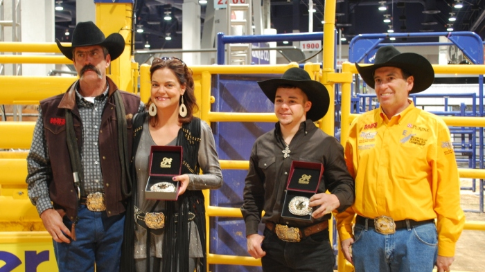Stock contractors Tom and Vonnie Nunes (from l to r) joined Aaron Pass and announcer Jeff Bressler in the Wrangler Rodeo Arena at Cowboy FanFest after the inaugural event concluded on Friday.