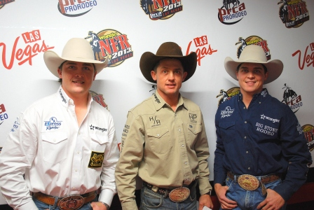 Jake Wright, left, is in position to join his brothers, Cody, center, and Jesse as world champion saddle bronc riders.