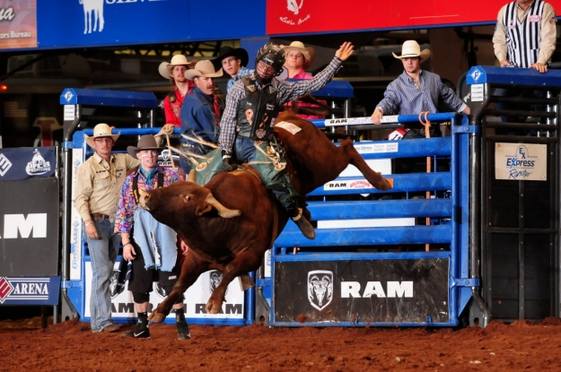 Sage Kimzey, shown here riding at the Ram National Circuit Finals Rodeo this past weekend, has been the top bull rider in the PRCA in 2014.  --PRCA ProRodeo photo by James Phifer