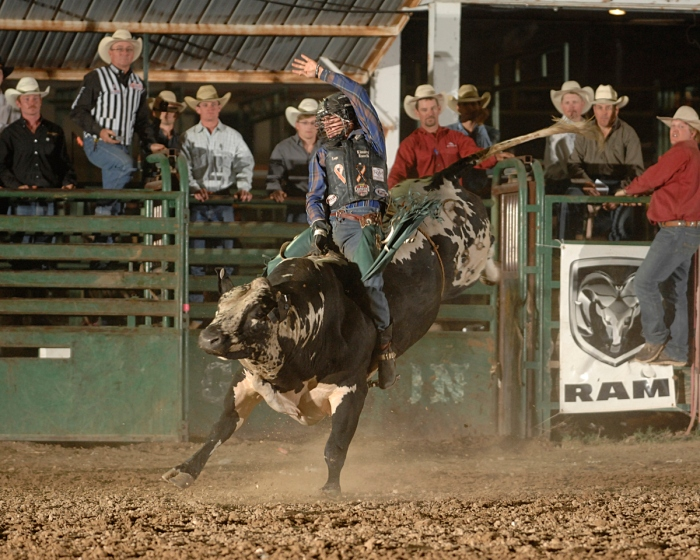 World Standings leader Sage Kimzey split first place at the Guymon (Okla.) Pioneer Days Rodeo with this 92-pointer on Carr Pro Rodeo's Line Man.  --Photo courtesy of Robby Freeman