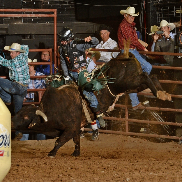 Sage Kimzey won El Paso with this 91-point ride on Four L & Diamond S Rodeo's Highway in early June to keep his 2014 season rolling along.  --Photo courtesy of dudleydoright.com