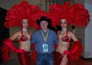 Part of the perks of being able to see the Wrangler NFR from the inside include photo ops with Vegas showgirls, like I had here in 2012.