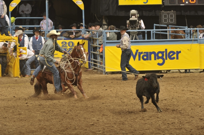 Eight-time World Champion Fred Whitfield is gunning for a 21st career Wrangler National Finals Rodeo berth, but has had a challenging summer that could threaten his chances.  --PRCA ProRodeo photo by Mike Copeman