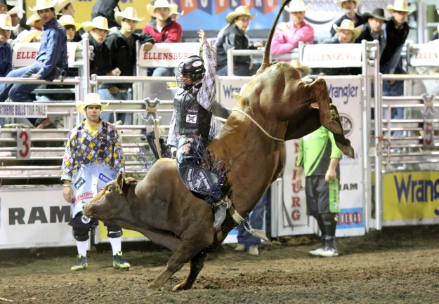 Sage Kimzey secured the Xtreme Bulls Tour Finale title in Ellensburg, Wash., on Aug. 30 thanks to this 87-point ride aboard Corey & Lange Rodeo's Wild Eyes.  --Photo by Molly Morrow