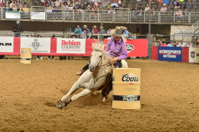 Kaley Bass, shown here in Omaha, Neb., earlier this year, will draw on her experience from the last two Wrangler NFRs as she guns for her first world title.  --WPRA photo by Greg Westfall