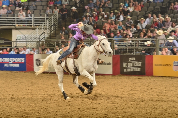 Kaley Bass and her AQHA/WPRA Barrel Racing Horse of the Year Wonders Cowboy Dan have been awesome in 2014 so far.  --WPRA photo by Greg Westfall