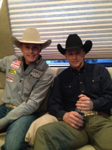 Tuf Cooper looks up to a number of rodeo legends as role models. He spent some time talking with ProRodeo Hall of Famer Ty Murray earlier this year at a photo shoot in Las Vegas.