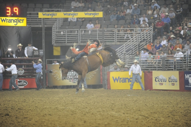 Bareback rider Tim O'Connell, shown here riding in Omaha, Neb., is thrilled to be heading to his first career Wrangler NFR.  --PRCA photo by WT Bruce