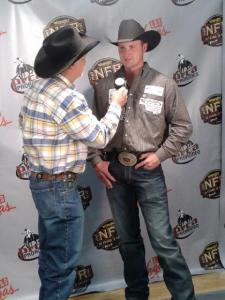 Kyle Irwin had plenty of media interviews to do in the Wrangler NFR press room after sharing the Round 2 victory with Luke Branquinho.