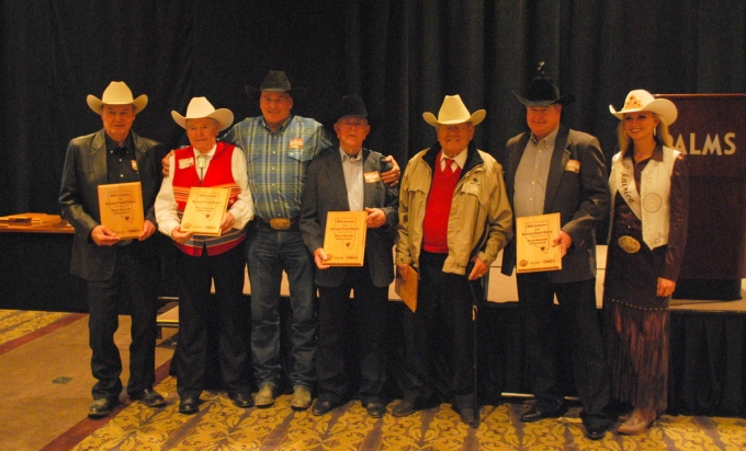 Rooster Reynolds, second from left, helped award the inaugural Benny Reynolds Gold Card Awards to (l to r) Jim Sutton, Cotton Rosser, Neal Gay, Harry Vold and Bennie Beutler at the Gold Card Roundup.