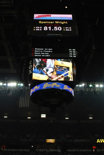 World Champion Saddle Bronc Rider Spencer Wright may see bigger money totals flashing on this screen in Las Vegas next year.