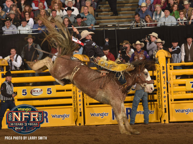 Four-time World Champion Bareback Rider Bobby Mote split the Round 4 victory with Tim O'Connell thanks to this ride.