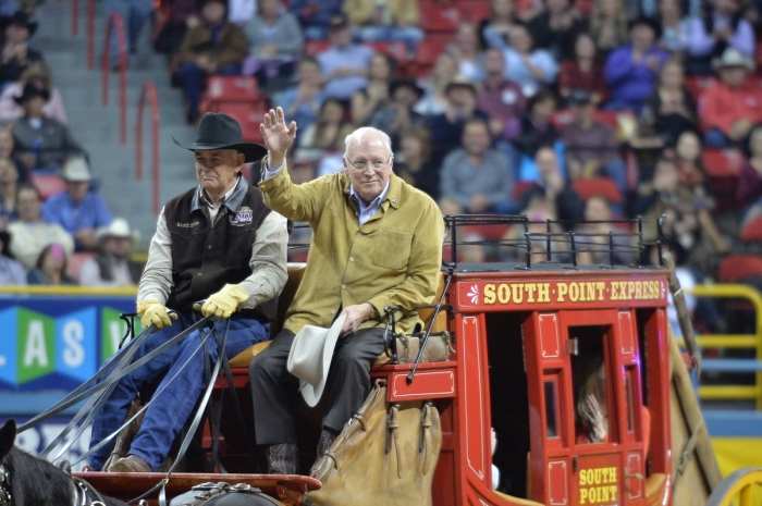 Former U.S. Vice President Dick Cheney visited the Wrangler NFR for Round 2 on Friday night.  --PRCA photo by Greg Westfall