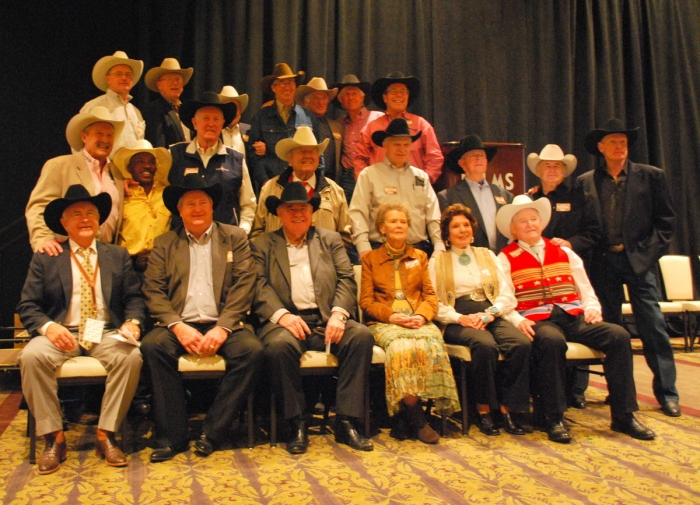 Members of the ProRodeo Hall of Fame gathered for a group photo at the Gold Card Roundup at the Palms.
