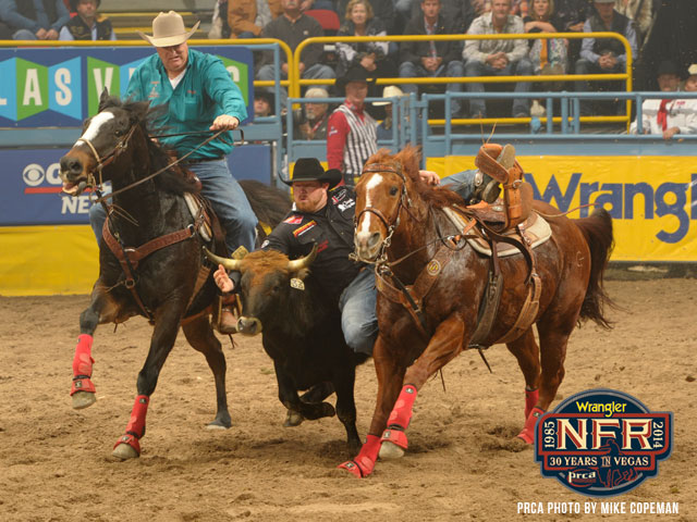 Wrangler NFR bulldogger Clayton Hass, right, has the treat of having ProRodeo Hall of Fame Steer Wrestler Ote Berry serving as his hazer at this year's Finals.
