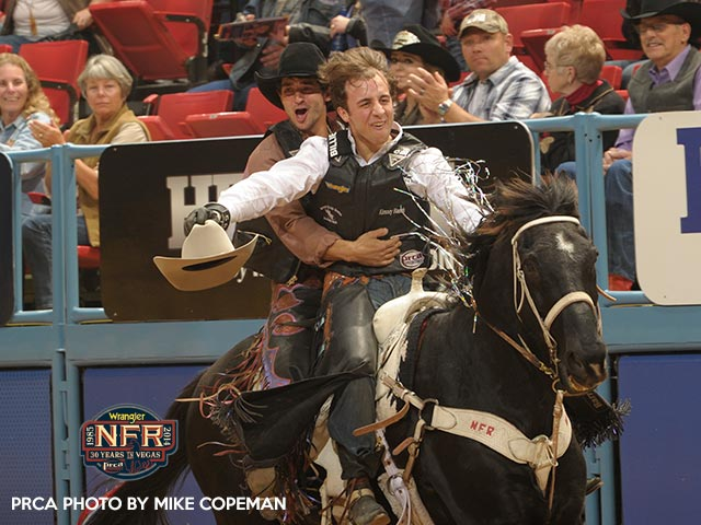 Sage Kimzey, front, split Round 7 with Elliott Jacoby and has all but wrapped up the bull riding world title.