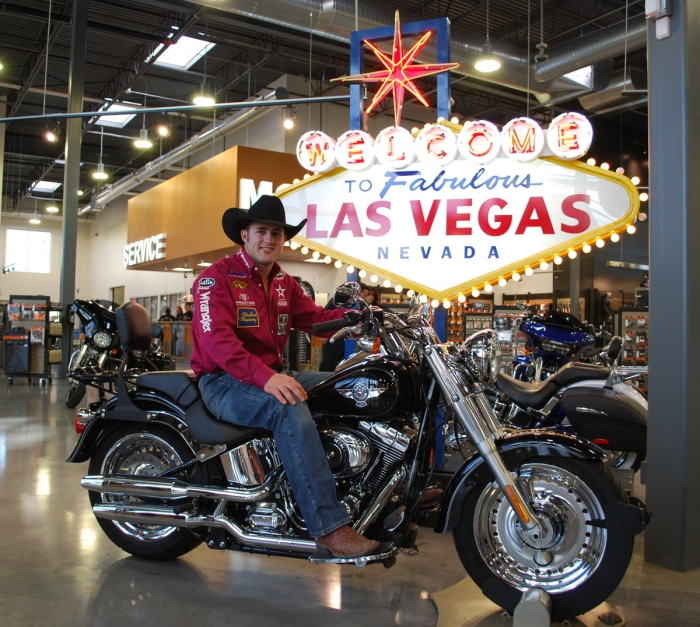 Three-time World Champion Bareback Rider Kaycee Feild made an appearance at the local Harley-Davidson dealership on Wednesday prior to Round 7 of the Wrangler NFR.