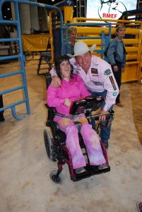 Wrangler NFR steer wrestler K.C. Jones reconnected with an old friend at the Wrangler NFR Exceptional Rodeo.